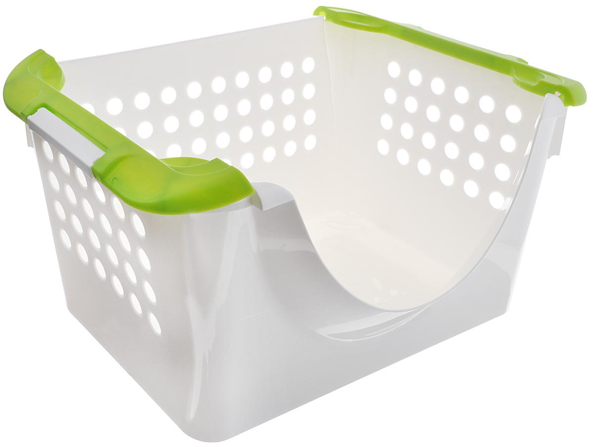 Корзинка универсальная Econova, с ручками, цвет: белый, зеленый, 31 х 23 х 42,5 см780869_белый зеленыйУниверсальная корзина Econova, выполненная из прочного пластика, предназначена для хранения вещей в ванной, на кухне, даче или гараже. Позволяет хранить вещи, исключая возможность их потери. Корзина оснащена двумя удобными ручками для переноски. Боковые стенки перфорированы.