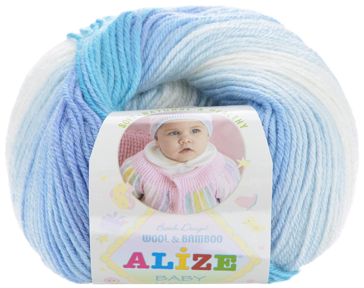Пряжа для вязания Alize Baby Wool, цвет: голубой, сиреневый, белый (3564), 175 м, 50 г, 10 шт372104_3564Детская пряжа для вязания Alize Baby Wool изготовлена из очень мягкой и высококачественной натуральной шерсти и бамбука. Из пряжи Baby Wool получается тонкий, но очень теплый трикотаж для ребенка. Акрил в составе нитей допускает легкую машинную стирку вещей. Цветовая палитра включает в себя комбинации, которые подходят как для мальчиков, так и для девочек. Рекомендуемые для вязания спицы 2,5-4 мм и крючки 1-3 мм. Состав: 40% шерсть, 40% акрил, 20% бамбук.