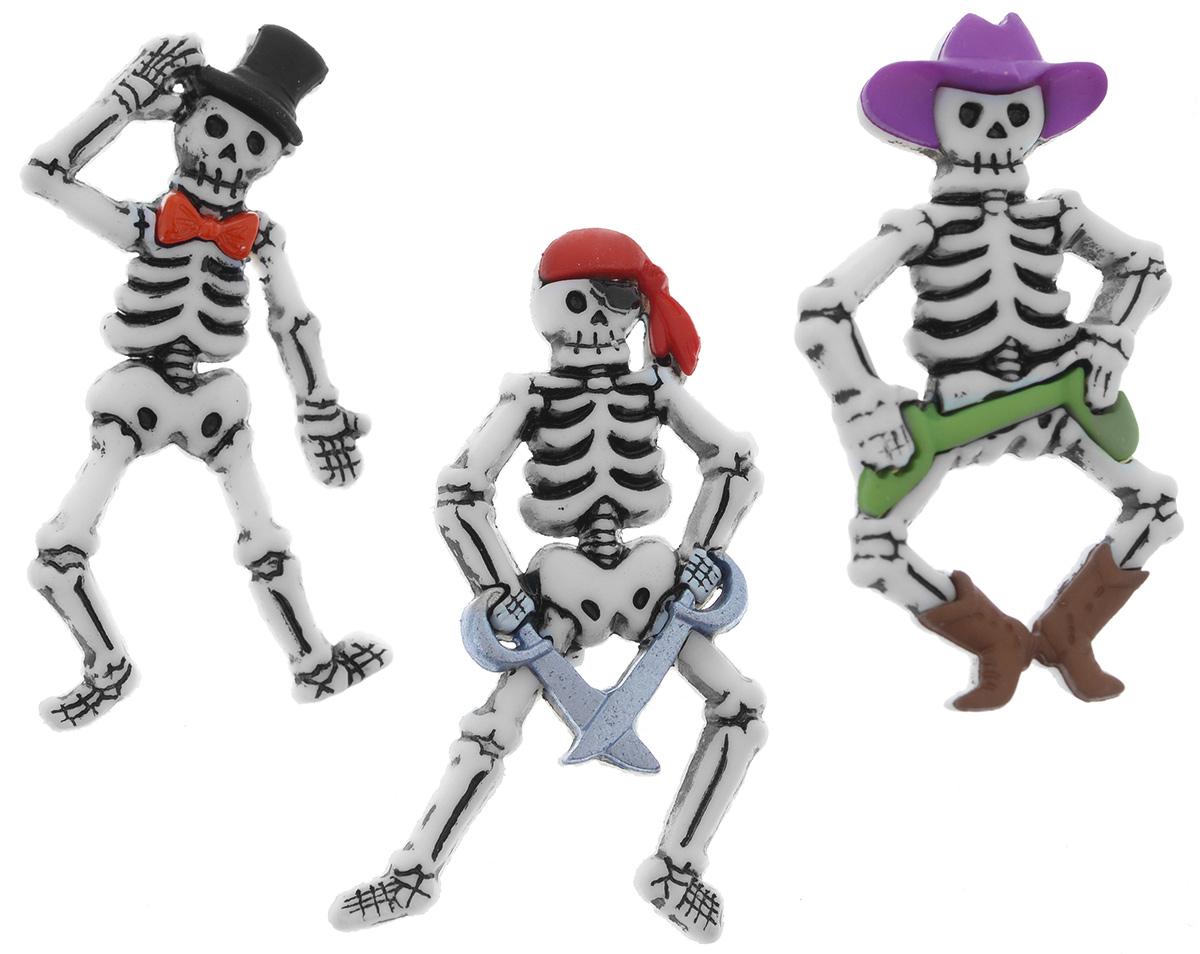 Пуговицы декоративные Dress It Up Скелеты, 3 шт7712047Набор Dress It Up Скелеты состоит из 3 декоративных пуговиц, выполненных из высококачественного пластика в виде скелетов. Такие пуговицы подходят для любых видов творчества: скрапбукинга, декорирования, шитья, изготовления кукол, а также для оформления одежды. С их помощью вы сможете украсить открытку, фотографию, альбом, подарок и другие предметы ручной работы. Все пуговицы в наборе имеют оригинальный и яркий дизайн. Средний размер пуговиц: 3,6 см х 2 см х 0,5 см.