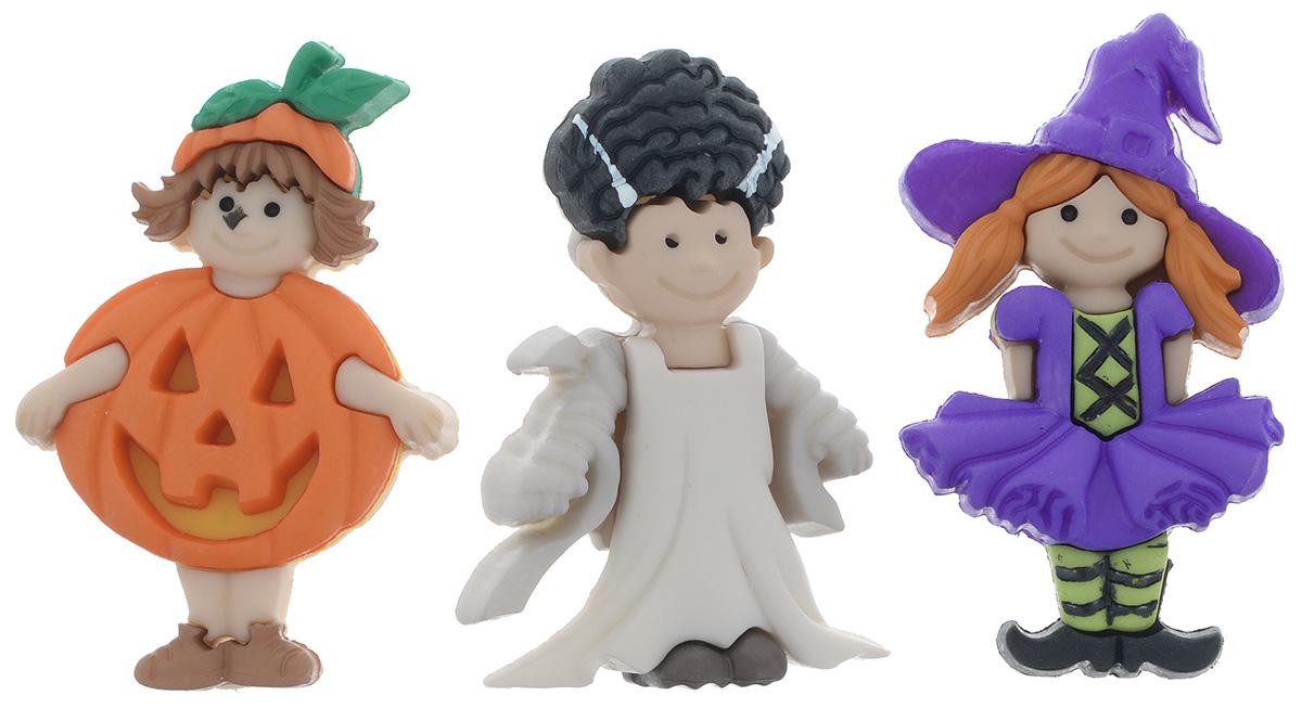 Пуговицы декоративные Dress It Up Маскарад для девочек, 3 шт7712050Набор Dress It Up Маскарад для девочек состоит из 3 декоративных пуговиц, выполненных из высококачественного пластика в виде человечков в маскарадных костюмах. Такие пуговицы подходят для любых видов творчества: скрапбукинга, декорирования, шитья, изготовления кукол, а также для оформления одежды. С их помощью вы сможете украсить открытку, фотографию, альбом, подарок и другие предметы ручной работы. Все пуговицы в наборе имеют оригинальный и яркий дизайн. Средний размер пуговиц: 3,2 см х 1,8 см х 0,5 см.