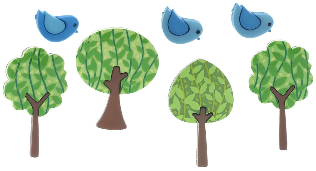 Пуговицы декоративные Dress It Up Лесные певцы, 7 шт7713483Набор Dress It Up Лесные певцы состоит из 7 декоративных пуговиц, выполненных из высококачественного пластика в виде птиц и деревьев. Такие пуговицы подходят для любых видов творчества: скрапбукинга, декорирования, шитья, изготовления кукол, а также для оформления одежды. С их помощью вы сможете украсить открытку, фотографию, альбом, подарок и другие предметы ручной работы. Все пуговицы в наборе имеют оригинальный и яркий дизайн. Средний размер пуговиц: 3,3 см х 1,8 см х 0,5 см.