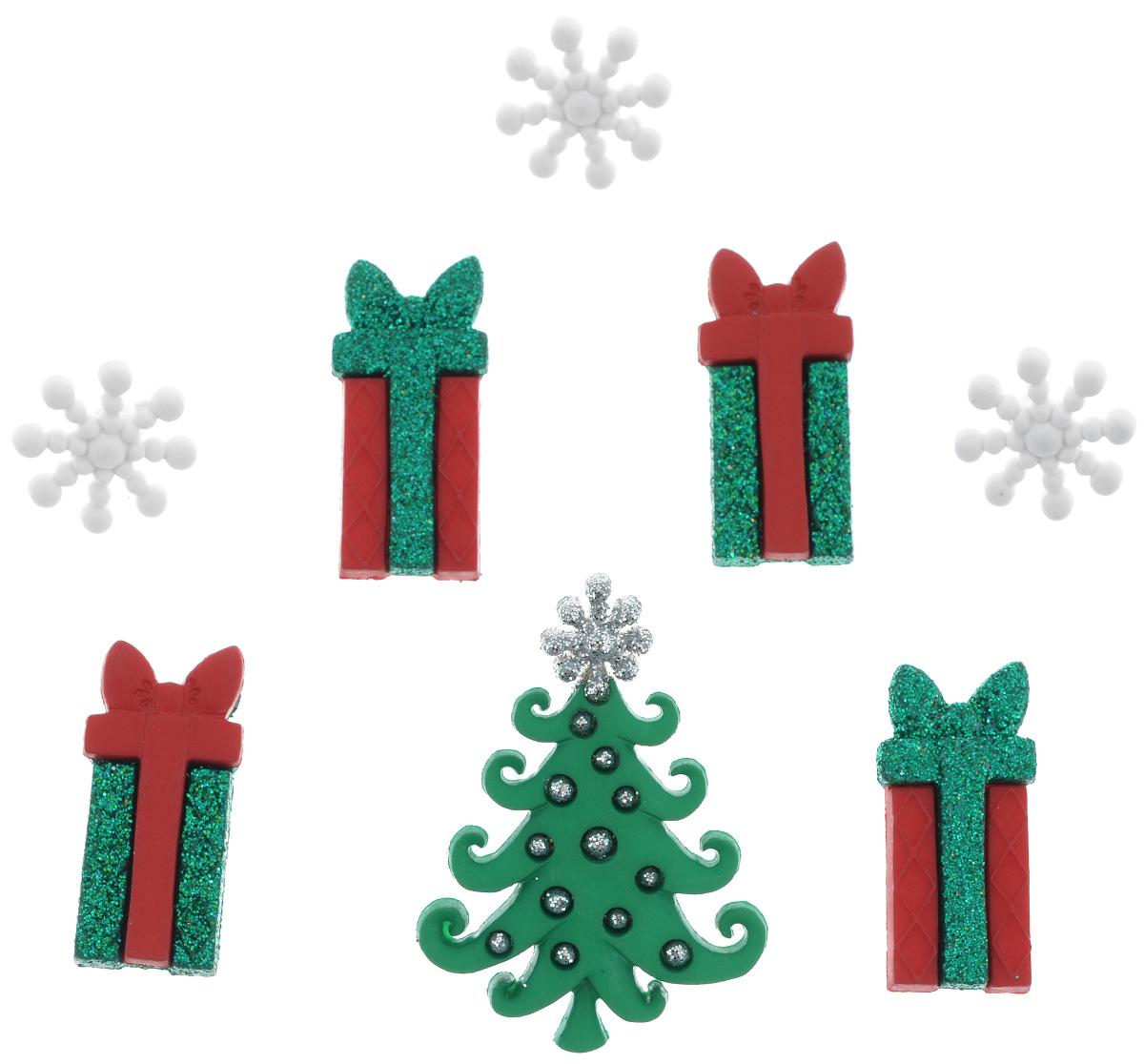 Пуговицы декоративные Dress It Up Необычное Рождество, 8 шт7713509Пуговицы декоративные Dress It Up Необычное Рождество состоит из 8 декоративных пуговиц, выполненных из цветного пластика в виде снежинок, елки, подарков. Такие пуговицы подходят для любых видов творчества: скрапбукинга, декорирования, шитья, изготовления кукол, а также для оформления одежды. С их помощью вы сможете украсить открытку, фотографию, альбом, подарок и другие предметы ручной работы. Пуговицы разных цветов имеют оригинальный и яркий дизайн. Средний размер пуговиц: 3,5 см х 2 см х 0,3 см.