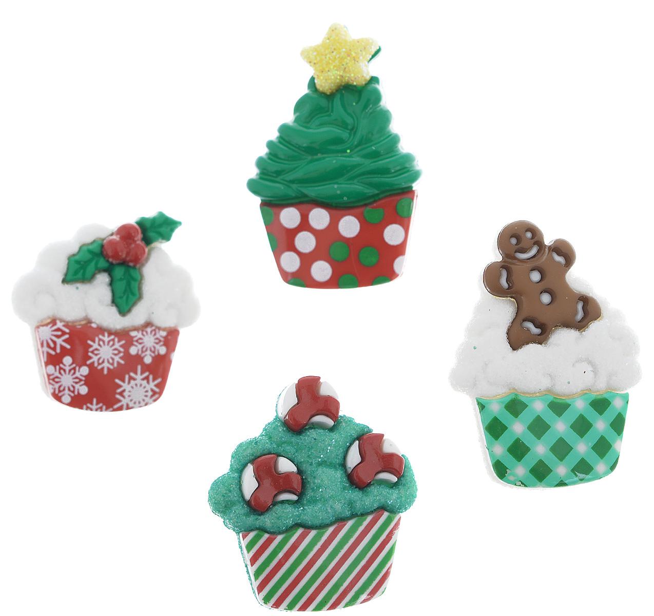 Пуговицы декоративные Dress It Up Рождественские пирожные, 4 шт7713491Пуговицы декоративные Dress It Up Рождественские пирожные состоит из 4 декоративных пуговиц, выполненных из цветного пластика в виде пирожных с различными наполнителями. Такие пуговицы подходят для любых видов творчества: скрапбукинга, декорирования, шитья, изготовления кукол, а также для оформления одежды. С их помощью вы сможете украсить открытку, фотографию, альбом, подарок и другие предметы ручной работы. Пуговицы разных цветов имеют оригинальный и яркий дизайн. Средний размер пуговиц: 2,5 см х 1,8 см х 0,3 см.