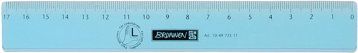 Brunnen Линейка для левши цвет голубой 17 см49725-17\BCD_голубойЛинейка Brunnen, длиной 17 см, выполнена из прозрачного пластика голубого цвета. Линейка предназначена специально для левшей. Шкала на линейке расположена справа налево. Линейка Brunnen - это незаменимый атрибут, необходимый школьнику или студенту, упрощающий измерение и обеспечивающий ровность проводимых линий.