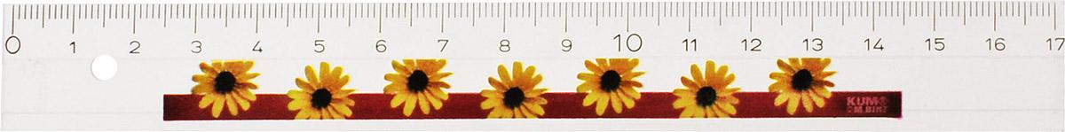 Kum Линейка Floral цвет желтый 17 см