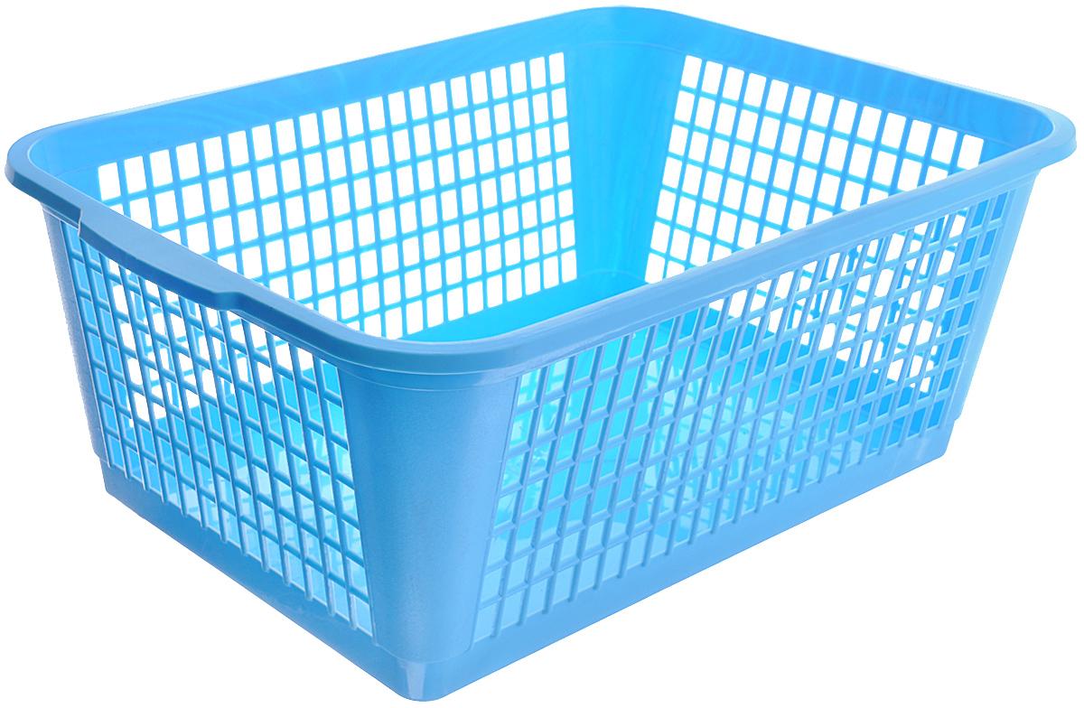 Корзина Gensini, цвет: голубой, 26 л3308_голубойУниверсальная корзина Gensini, выполненная из пластика, предназначена для хранения мелочей в ванной, на кухне, даче или гараже. Позволяет хранить мелкие вещи, исключая возможность их потери. Боковые стенки украшены перфорацией в виде прямоугольников.