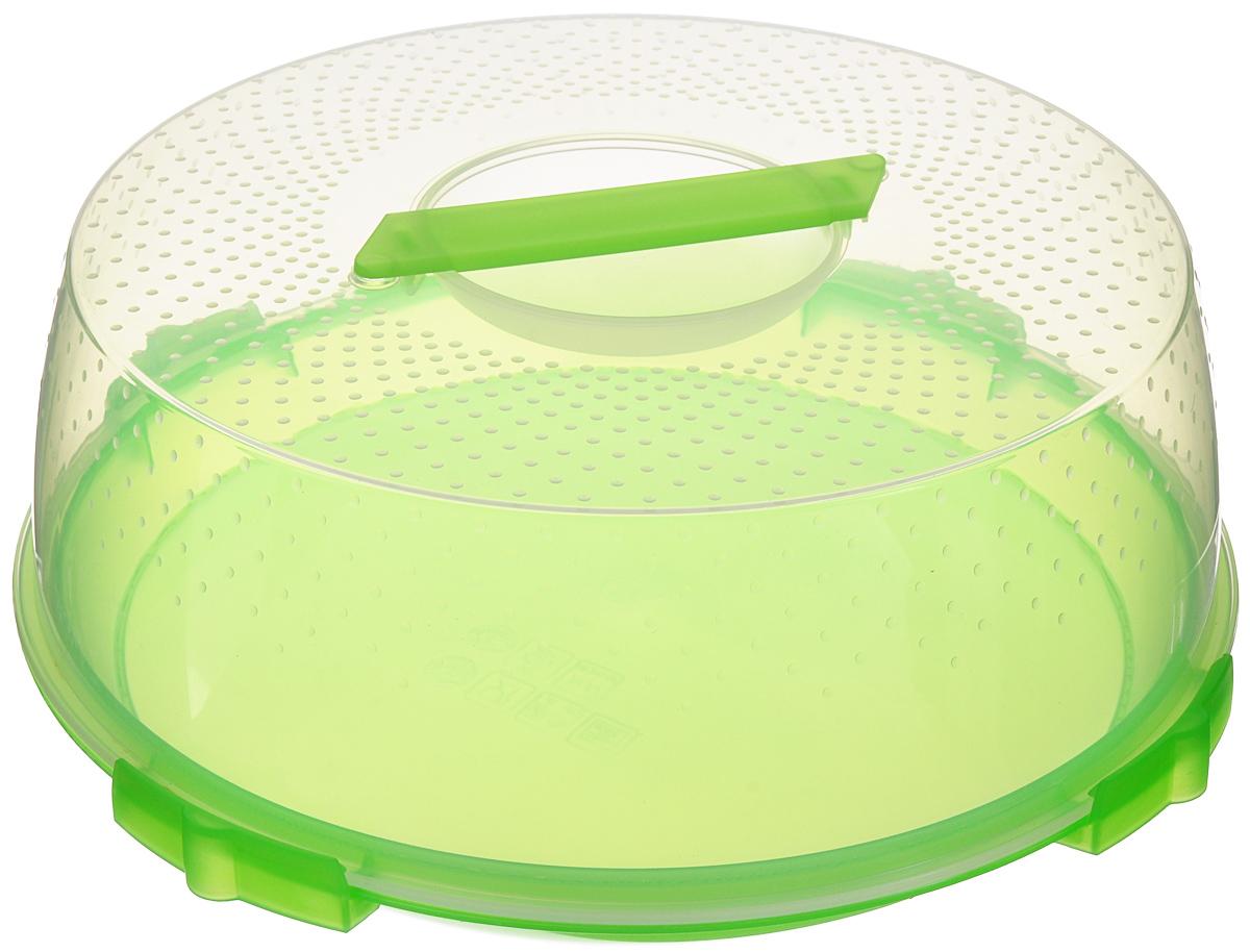 Тортница Cosmoplast Оазис, цвет: салатовый, прозрачный, диаметр 32 см2123_салатовыйТортница Cosmoplast Оазис изготовлена из высококачественного прочного пищевого пластика. Тортница имеет удобную ручку для переноски и прочные фиксаторы крышки. Может использоваться в микроволновой печи и морозильной камере (выдерживает температуру от -30°С до +115°С). Очень гигиенична и легко моется. Можно мыть в посудомоечной машине. Диаметр тортницы: 32 см. Внутренний диаметр тортницы: 28 см. Высота тортницы: 13 см.