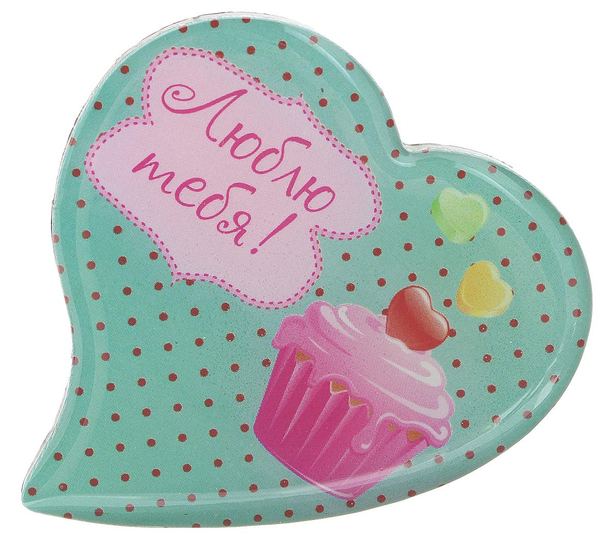 Магнит Феникс-презент Люблю тебя!, 5 x 5 см 2717927179Магнит в форме сердца Феникс-презент Люблю тебя!, выполненный из агломерированного феррита, станет приятным штрихом в повседневной жизни. Оригинальный магнит, декорированный изображением пирожного, поможет вам украсить не только холодильник, но и любую другую магнитную поверхность. Материал: агломерированный феррит.