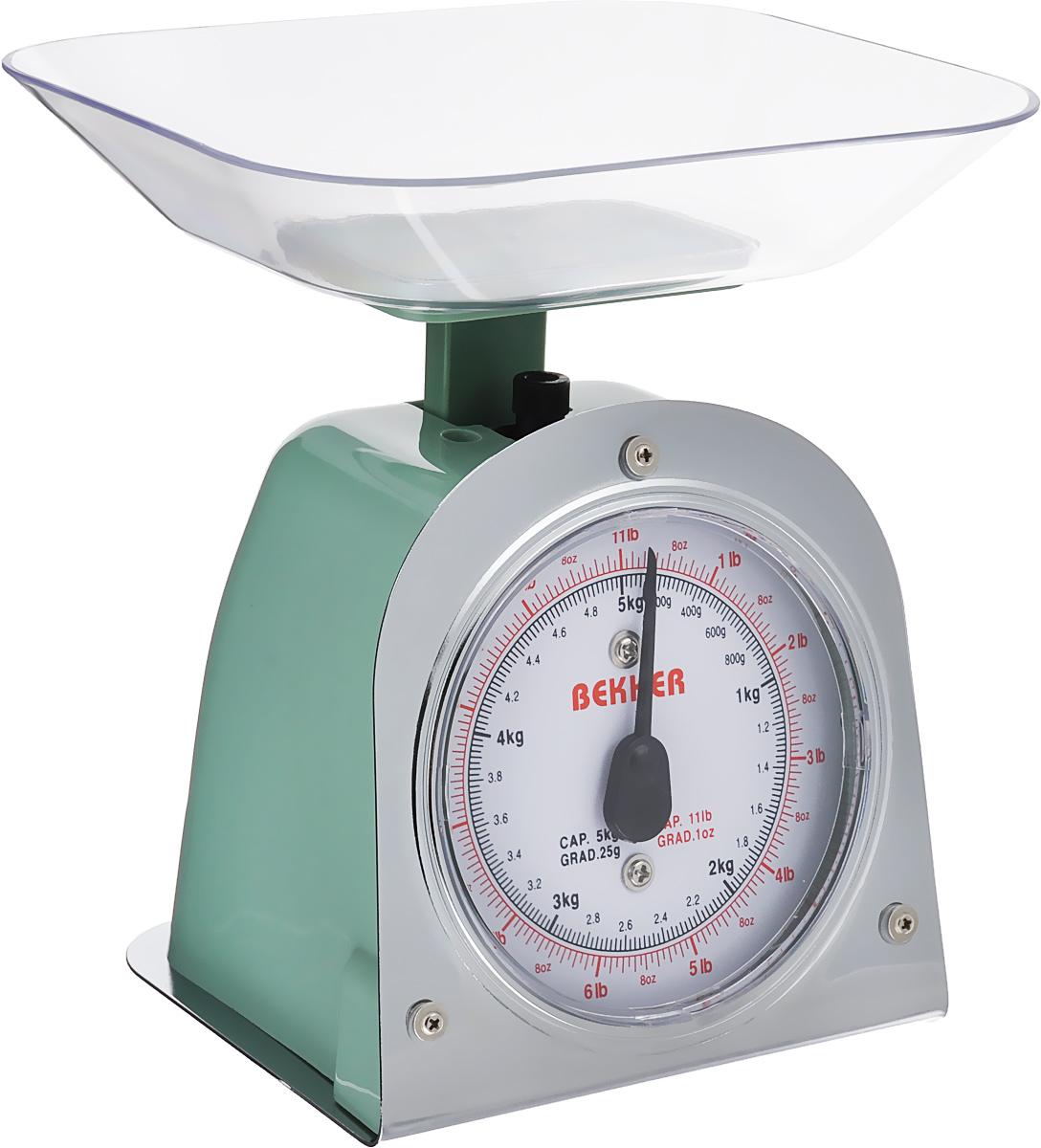 Весы кухонные Bekker Koch, цвет: зеленый, до 5 кгBK-2_зеленыйВесы кухонные Bekker Koch предназначены для взвешивания продуктов. Основание весов изготовлено из металла, а корпус из высококачественного пластика. Весы имеют регулятор мерной шкалы и съемную чашу, изготовленную из пластика. Весы выдерживают до 5 килограмм веса. Кухонные весы Bekker Koch придутся по душе каждой хозяйке и станут незаменимым аксессуаром на кухне. Размер весов (с учетом чаши): 13,5 см х 12 см х 19 см. Цена деления: 25 г. Максимальная нагрузка: 5 кг. Размер съемной чаши: 17,8 см х 15 см х 3,5 см.