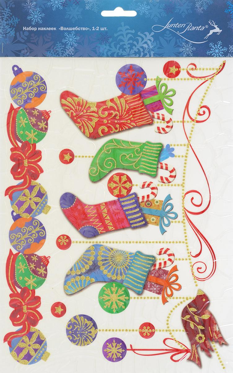 Новогоднее оконное украшение Lunten Ranta Волшебство, 2 шт. 65915_265915_2Новогоднее оконное украшение Lunten Ranta Волшебство поможет украсить дом к предстоящим праздникам. Наклейки изготовлены из ПВХ и оформлены изображением елочных игрушек и гирлянды, нанесенных на клейкую пленку. Рисунки декорированы золотистыми блестками. С помощью этих украшений вы сможете оживить интерьер по своему вкусу, наклеить их на окно, на зеркало или на дверь. Новогодние украшения всегда несут в себе волшебство и красоту праздника. Создайте в своем доме атмосферу тепла, веселья и радости, украшая его всей семьей. Размер самой большой наклейки: 26 см х 13 см. Размер самой маленькой наклейки: 26 см х 4 см.