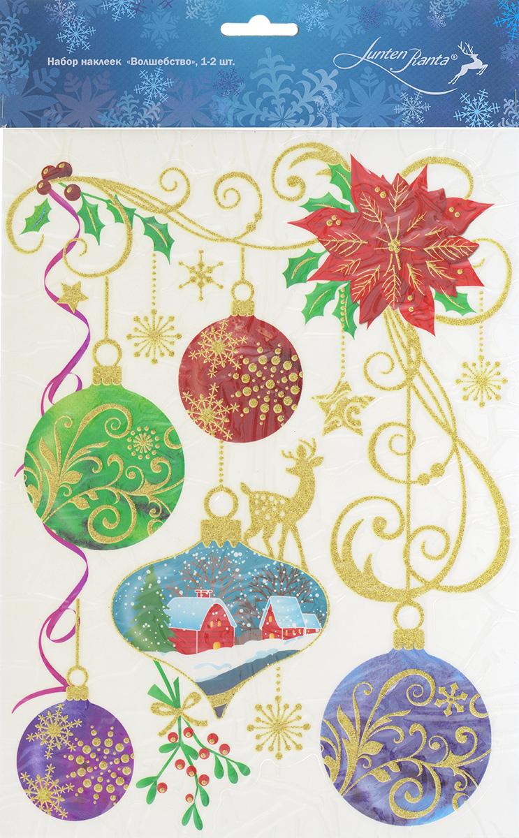 Новогоднее оконное украшение Lunten Ranta Волшебство. 65915_165915_1Новогоднее оконное украшение Lunten Ranta Волшебство поможет украсить дом к предстоящим праздникам. Наклейка изготовлена из ПВХ и оформлена изображением елочных игрушек и снежинок, нанесенных на клейкую пленку. Рисунки декорированы золотистыми блестками. С помощью этих украшений вы сможете оживить интерьер по своему вкусу, наклеить их на окно, на зеркало или на дверь. Новогодние украшения всегда несут в себе волшебство и красоту праздника. Создайте в своем доме атмосферу тепла, веселья и радости, украшая его всей семьей.