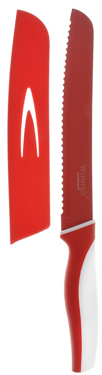 Нож для резки хлеба Winner, цвет: красный, белый, длина лезвия 20 см. WR-7215WR-7215_красный, белыйНож для резки хлеба Winner выполнен из высококачественной нержавеющей стали с цветным полимерным покрытием Xynflon, предотвращающим прилипание продуктов. Очень удобная и эргономичная ручка выполнена из прорезиненного пластика с антибактериальным покрытием Zeomic. Нож с зубчатой кромкой лезвия применяется для нарезки как свежих, так и черствых хлебобулочных изделий. При резке таким ножом мякиш изделия не нарушается. Нож применяется для резки рогаликов, булочек, бубликов и рулетов. Нож помогает поддерживать идеальную гигиену на кухне. Zeomic обеспечивает постоянную противомикробную защиту, позволят сохранить нож в чистоте в течение длительного периода времени после мытья, подавляет бактерии, которые способствуют появлению загрязнения и неприятного запаха, гнили и плесени в течение всего времени использования изделия. Нож для резки хлеба Winner предоставит вам все необходимые возможности в успешном приготовлении пищи и порадует вас своими результатами. ...