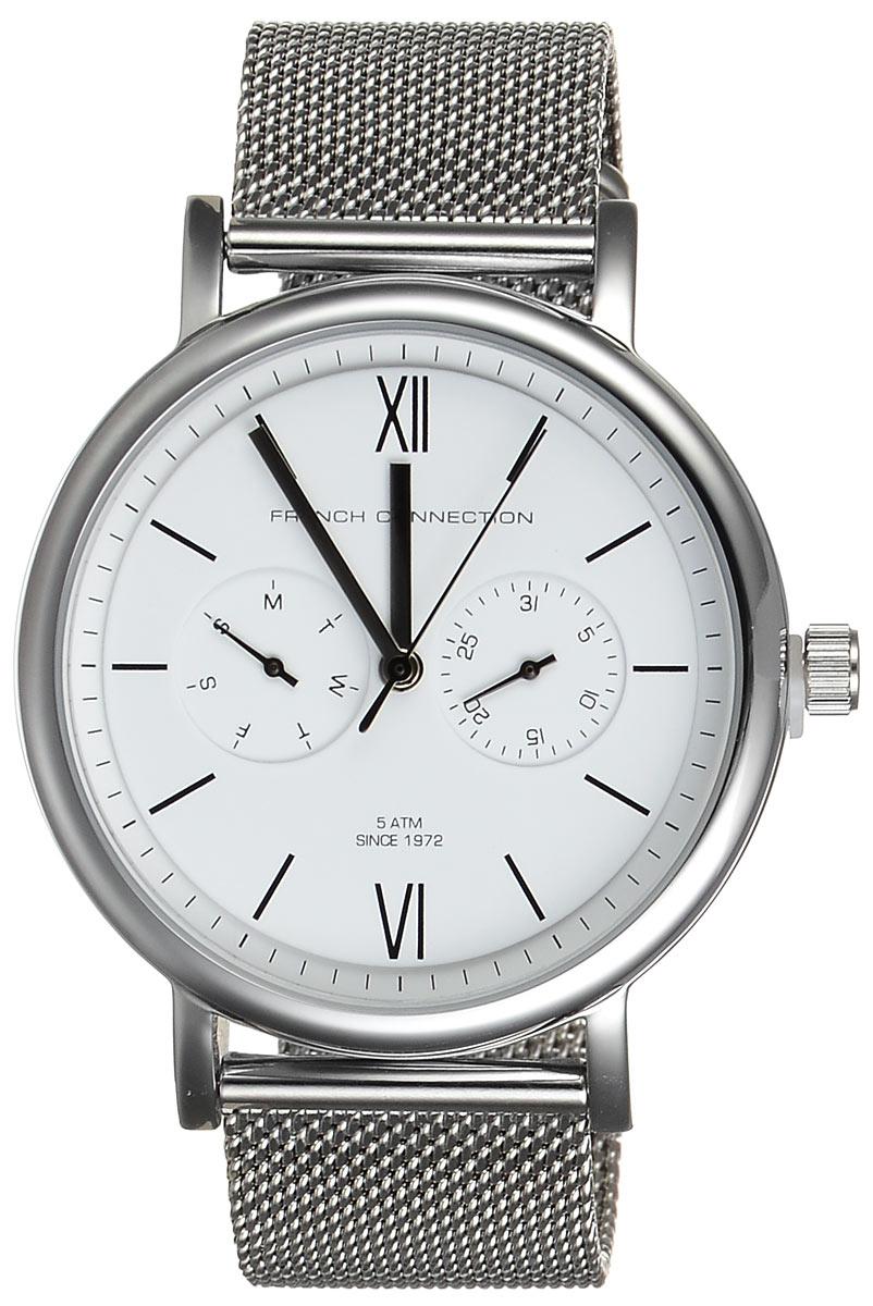Часы мужские наручные French Connection, цвет: стальной. FC1223SMFC1223SMСтильные мужские часы French Connection выполнены из нержавеющей стали и минерального стекла. Корпус часов дополнен оригинальным и практичным браслетом и оформлен символикой бренда. Корпус изделия изготовлен из нержавеющей стали и имеет степень влагозащиты равную 5 atm. Часы оснащены многофункциональным механизмом 6P25 c тремя стрелками, двумя дополнительными циферблатами с индикаторами числа и дня недели. Браслет часов дополнен практичной застежкой раскладной замок, которая позволит моментально снимать и одевать часы без лишних усилий. Изделие поставляется в фирменной упаковке. Часы French Connection подчеркнут мужской характер и отменное чувство стиля у их обладателя.