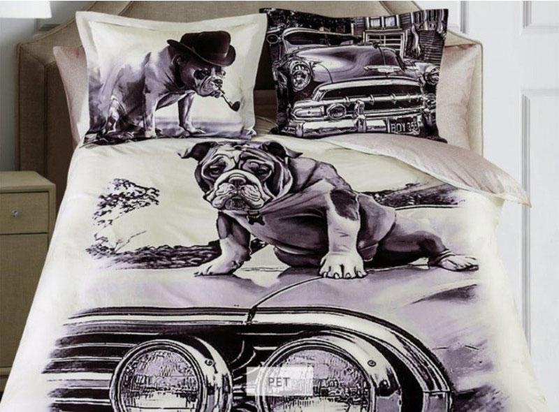 Комплект белья Mona Liza Pet, 2-спальный, наволочки 50х70, 70х70, цвет: серый, бежевый, темно-коричневый8/1Комплект белья Mona Liza Pet, выполненный из сатина, состоит из пододеяльника, простыни и наволочек двух размеров по две штуки каждого. Изделия оформлены оригинальным рисунком. Отличительная особенность серии - авторский дизайн, фотопечать с высоким разрешением, насыщенные цвета с точной передачей полутонов. По сути, это панно, перенесенное на ткань - нелиняющий сатин. Сатин - это хлопковая ткань, имеющая особое переплетение нитей. Имеет гладкую, шелковистую лицевую поверхность, на которой преобладают уточные нити. Сатин довольно плотен и блестит. В комплект входит: Пододеяльник - 1 шт. Размер: 175 см х 210 см. Простыня - 1 шт. Размер: 215 см х 240 см. Наволочка - 2 шт. Размер: 70 см х 70 см. Наволочка - 2 шт. Размер: 50 см х 70 см. Рекомендации по уходу: - Ручная и машинная стирка 40°С, - Гладить при средней температуре, - Щадящая сушка, - Не подвергать химчистке.