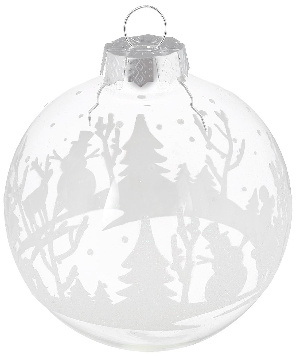 Новогоднее подвесное украшение Its a Happy Day Шар. Рождественская ночь, цвет: прозрачный, белый, диаметр 8 см67964Новогоднее подвесное украшение Its a Happy Day Шар. Рождественская ночь выполнено из высококачественного стекла в форме шара и оформлено изящным рисунком с блестками. С помощью специальной петельки украшение можно повесить в любом понравившемся вам месте. Но, конечно, удачнее всего оно будет смотреться на праздничной елке. Елочная игрушка - символ Нового года. Она несет в себе волшебство и красоту праздника. Создайте в своем доме атмосферу веселья и радости, украшая новогоднюю елку нарядными игрушками, которые будут из года в год накапливать теплоту воспоминаний.