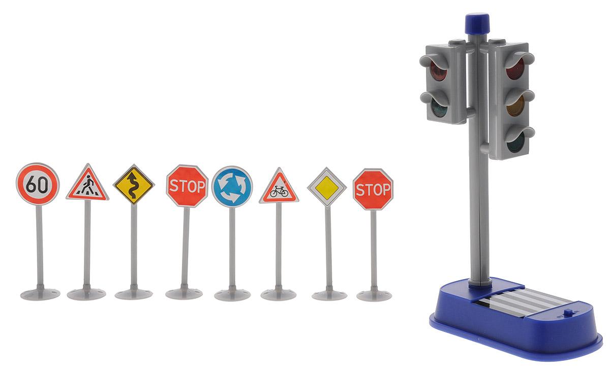 Big motors Игровой набор Светофор с дорожными знаками1324Игровой набор от Big Motors непременно привлечет внимание вашего малыша и не позволит ему скучать. В наборе светофор и дорожные знаки. В светофоре предусмотрено звуковое и световое сопровождение для пешеходов, при загорании зеленого света для пешеходов, раздается прерывистый звук, который меняет свою частоту к моменту выключения разрешающего сигнала светофора. Светофор с дорожными знаками может дополнить и разнообразить игру с любимыми машинками. Этот чудесный набор будет отличным подарком любому мальчишке. Он сможет часами играть в него, придумывая все новые и новые истории. Для работы необходимо 2 батарейки типа АА (комплектуется демонстрационными).