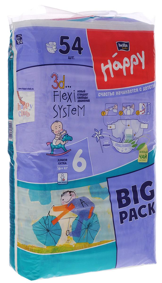 Bella Подгузники для детей Baby Happy размер Junior Extra 6 16+ кг 54 штBB-054-JX54-007Подгузники Baby Happy Junior Extra рекомендованы для детей с массой тела больше 16 кг и крепким телосложением. Как правило, это последний размер перед приучением к горшку. Размер подгузника в сочетании с максимальной впитываемостью приводит к тому, что играм нет конца, а возвращение с прогулки или утреннее пробуждение не ассоциируется с намокшей одеждой. Инновационная 3D Flexi System обеспечивает ребенку комфорт, не сковывая его движений и одновременно обеспечивая максимум впитываемости. 3D Flexi System это: широкие, эластичные липучки, широкий и очень эластичный поясок, а также высокие эластичные оборки, которые удерживают содержимое подгузника внутри. Липучки многоразового использования идеально себя зарекомендовали во время тренировок по соблюдению чистоты. Тонкий анатомический впитывающий вкладыш абсорбирует всю влагу, а инновационный нетканый материал Magic Green мгновенно распределяет её по всей длине подгузника. Благодаря применению дышащих материалов...