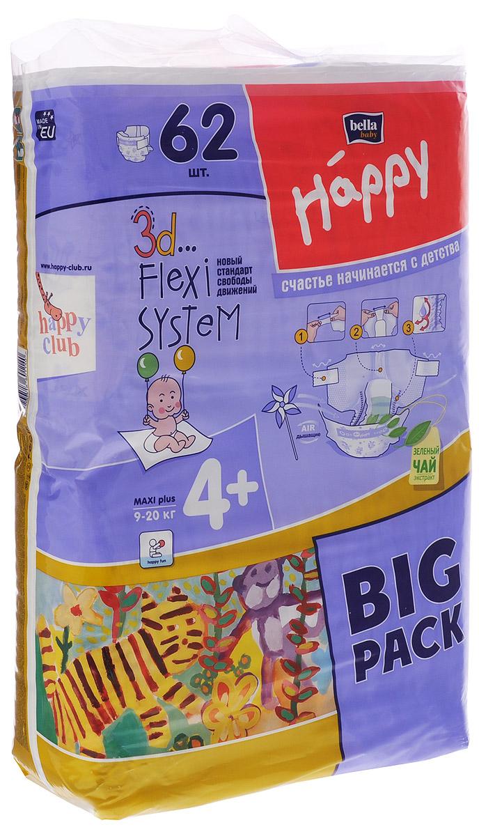 Bella Подгузники для детей Baby Happy размер Maxi Plus 4+ 9-20 кг 62 штBB-054-LX62-006Подгузники Baby Happy Maxi Plus рекомендованы для детей с массой тела больше 9 кг. Размер подгузника в сочетании с максимальной впитываемостью приводит к тому, что играм нет конца, а возвращение с прогулки или утреннее пробуждение не ассоциируется с намокшей одеждой. Инновационная 3D Flexi System обеспечивает ребенку комфорт, не сковывая его движений и одновременно обеспечивая максимум впитываемости. 3D Flexi System это: широкие, эластичные липучки, широкий и очень эластичный поясок, а также высокие эластичные оборки, которые удерживают содержимое подгузника внутри. Липучки многоразового использования идеально себя зарекомендовали во время тренировок по соблюдению чистоты. Тонкий анатомический впитывающий вкладыш абсорбирует всю влагу, а инновационный нетканый материал Magic Green мгновенно распределяет её по всей длине подгузника. Благодаря применению дышащих материалов нежная попка Малыша не подвержена опрелостям. Цветной принт на подгузнике притягивает внимание...