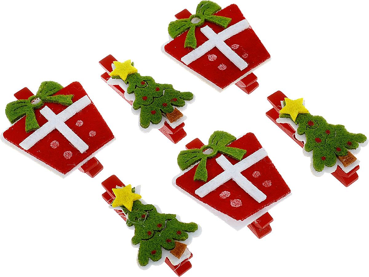 Набор новогодних украшений Lunten Ranta Подарок под елку, на прищепке, 6 шт67740_1Набор Lunten Ranta Подарок под елку состоит из 6 декоративных украшений - прищепок, изготовленных из фетра и дерева. Изделия станут прекрасным дополнением к оформлению вашего новогоднего интерьера. Они используются для развешивания стикеров на веревке, маленьких игрушек, а оригинальность и веселые цвета прищепок будут радовать глаз и поднимут настроение. Длина прищепки: 5 см. Размер декоративной части - елки: 4 см х 3 см. Размер декоративной части - подарка: 4,1 см х 4,1 см.