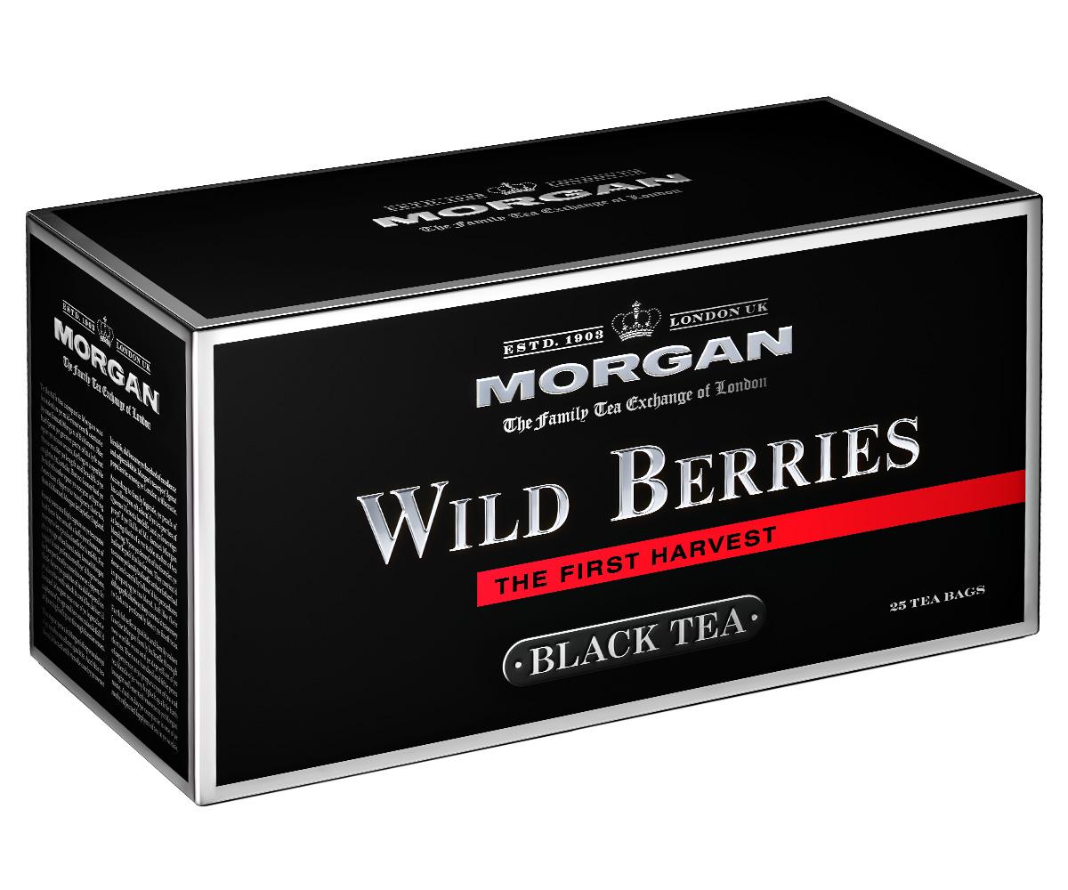 Morgan Wild Berries чай черный в пакетиках, 25 шт4607141334238Смесь кенийского и индийского черных чаев с ароматом лесных ягод: черники, клюквы, малины, земляники прекрасно тонизирует и согревает в течение всего дня. Свежий аромат лесных ягод придется по вкусу всем любителям чая!