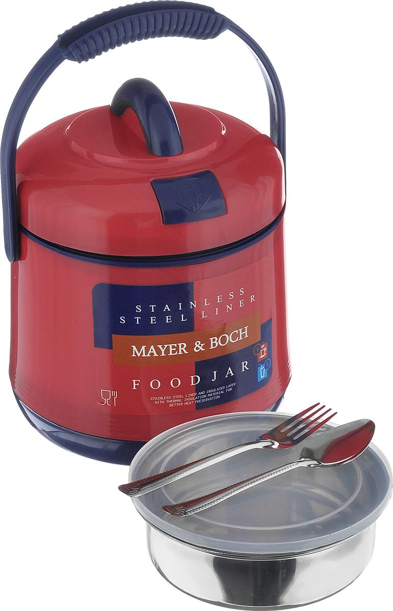 Термос пищевой Mayer & Boch, цвет: красный, 1,6 л901_красныйПищевой термос Mayer & Boch предназначен для хранения и переноски горячих и холодных пищевых продуктов. Корпус выполнен из высококачественного пластика. Внутренняя колба изготовлена из нержавеющей стали. Наполнение из жесткого пенопласта сохраняет температуру и свежесть пищи на протяжении 4-5 часов. Пища сохраняет аромат, вкус и питательные вещества. Внутрь вставляется специальная металлическая чаша с прозрачной пластиковой крышкой, что позволяет брать с собой сразу два блюда. В комплекте также предусмотрена ложка и вилка, которые хранятся в специальном отверстие в крышке. Такой термос - идеальный вариант для домашнего использования, для отдыха на природе или поездки. Элегантный и стильный дизайн подходит для любого случая. Размер термоса: 17 см х 17 см х 21 см. Диаметр емкости: 13,5 см. Высота стенки емкости: 4,5 см. Длина ложки/вилки: 14 см.
