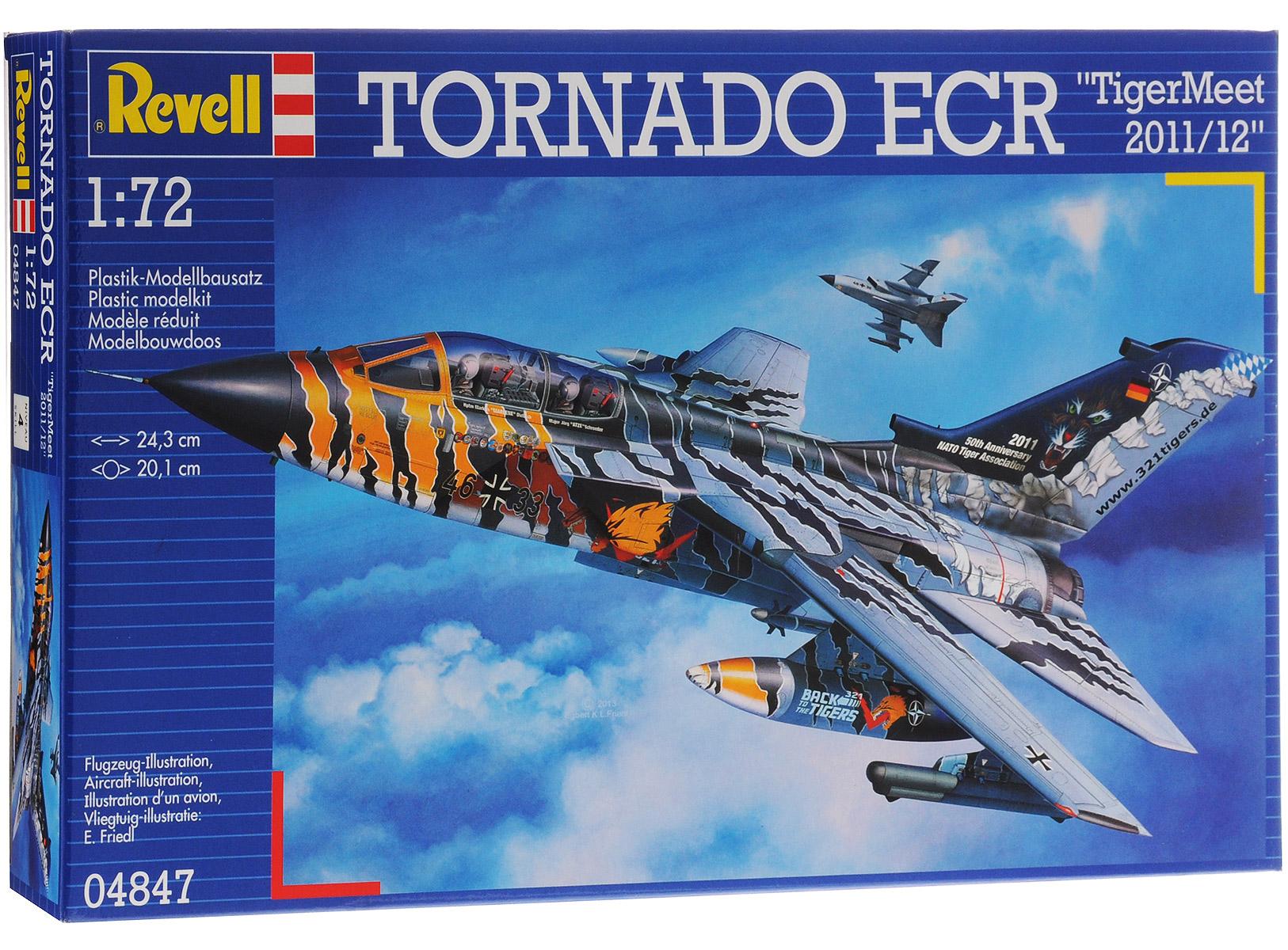 Revell Набор для сборки Самолет-бомбардировщик Tornado ECR TigerMeet 2011/1204847RС набором для сборки модели Revell Самолет-бомбардировщик Tornado ECR TigerMeet 2011/12 вы с ребенком сможете собрать уменьшенную копию одноименного самолета в масштабе 1:72. Tornado - реактивный истребитель-бомбардировщик с крылом изменяемой стреловидности. Был разработан в середине 1970-х годов. До сих пор состоит на вооружении ВВС ряда европейских и ближневосточных стран. Торнадо активно применялись во время войны в Персидском заливе, а также во время операции НАТО в Югославии. Всего во время боевых действий было потеряно 9 машин. Набор включает в себя 150 пластиковых элементов для сборки модели, переводные картинки и схематичную инструкцию по сборке. Благодаря набору ваш ребенок научится творчески решать поставленные задачи, разовьет интеллектуальные и инструментальные способности, воображение, конструктивное мышление, внимание, терпение и кругозор. Уровень сложности: 4.