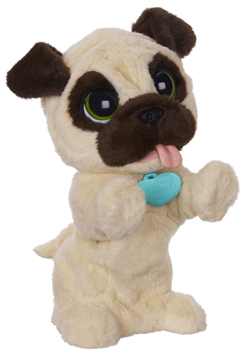 FurReal Friends Игривый щенокB0449EU4Анимированная игрушка FurReal Friends Игривый щенок привлечет внимание не только ребенка, но и взрослого. Плюшевый щенок светло-бежевого окраса с коричневыми ушками и носиком, и огромными выразительными глазками. У собачки имеется голубой медальон с логотипом FurReal Friends. Это симпатичное животное очень любит, когда его гладят, при этом оно издает забавные звуки, привстает на задние лапки и забавно двигается. Благодаря небольшому размеру игрушку можно брать с собой в гости или на прогулку. Интерактивная игрушка FurReal Friends Игривый щенок подарит вашему малышу хорошее настроение и станет для него настоящим другом. Порадуйте его таким замечательным подарком! Рекомендуется докупить 4 батарейки АА (товар комплектуется демонстрационными).