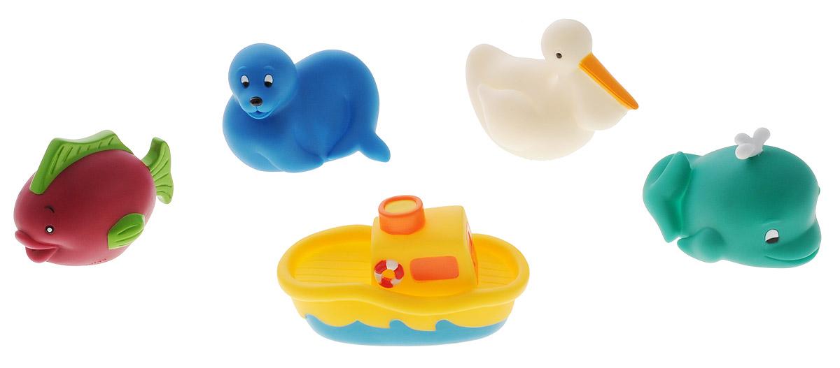 Battat Набор игрушек для ванной Морские животные 5 предметов68005_Рыба, кит, пеликан, тюлень, корабликНабор игрушек для ванной Морские животные привлечет внимание вашего малыша и не позволит ему скучать. Набор состоит из пяти ярких и разноцветных фигурок морских животных, которые могут плавать и набирать в себя воду. Ваш малыш сможет играть с фигурками и придумывать для них истории. В наборе рыбка, кит, пеликан, тюлень и кораблик. Порадуйте своего ребенка таким замечательным подарком!