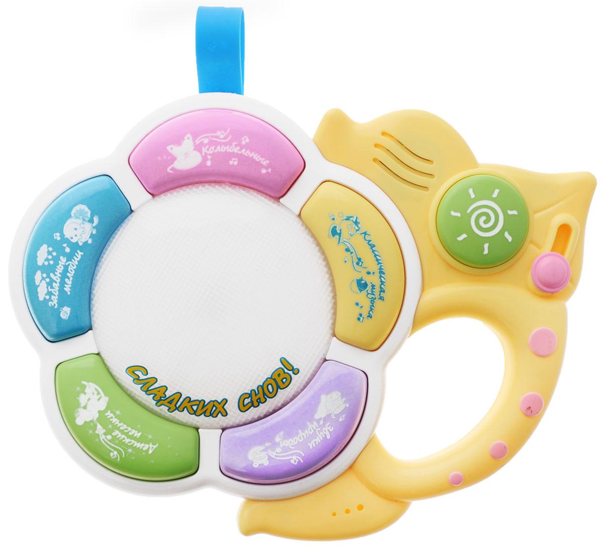 Расти малыш Развивающая игрушка КолыбельнаяWD3609Развивающая игрушка Колыбельная со звуковыми и световыми эффектами, непременно понравится вашему малышу и станет для него любимой игрушкой. Колыбельная - это ночник, который выполнен из безопасных для малыша материалов. Он не имеет острых углов, легко включается и выключается. Ночник можно прикрепить к кроватке с помощью специальной пластиковой ленты, которая регулируется по длине. Он имеет мягкий переливающийся свет. В ассортименте музыкальных фрагментов ночника есть звуки природы, спокойные убаюкивающие мелодии и классическая музыка, а также веселая ритмичная музыка для тех, кто уже проснулся. Вы можете регулировать громкость и длительность проигрывания мелодии: 5, 10 или 15 минут. Работает Колыбельная от батареек. Игрушка притягивает внимание ребенка, благоприятно влияет на его зрительное и слуховое восприятие, мелкую моторику. Порадуйте своего ребенка таким замечательным подарком! Для работы необходимо 3 батарейки типа АА (комплектуется...