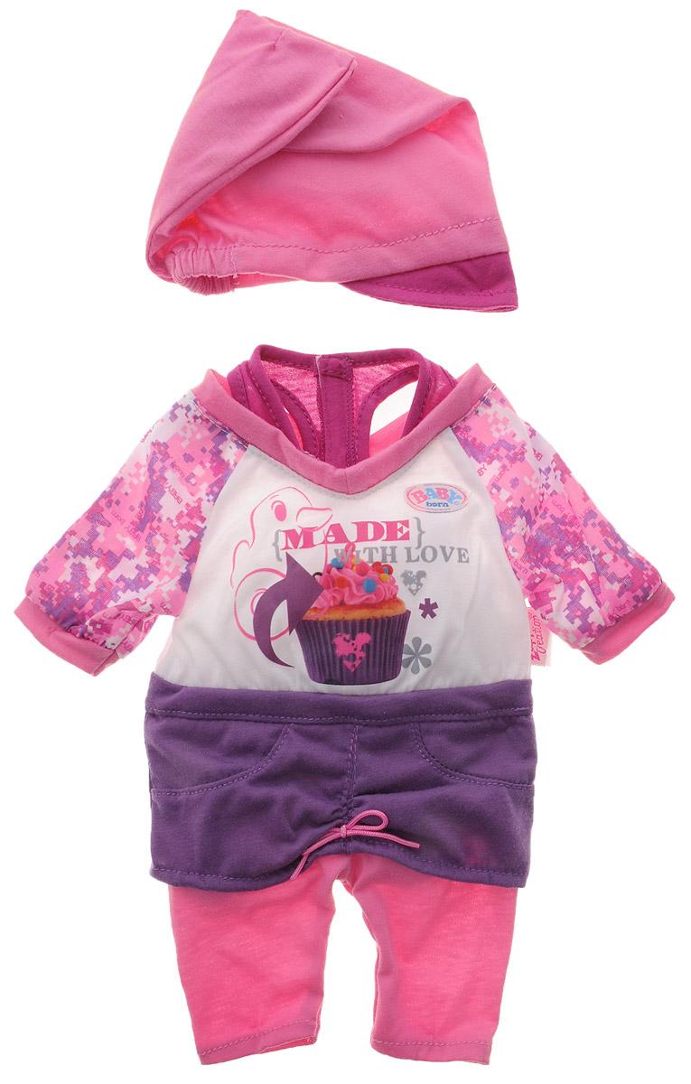Baby Born Комплект одежды для куклы Модный 2 предмета цвет розовый фиолетовый белый