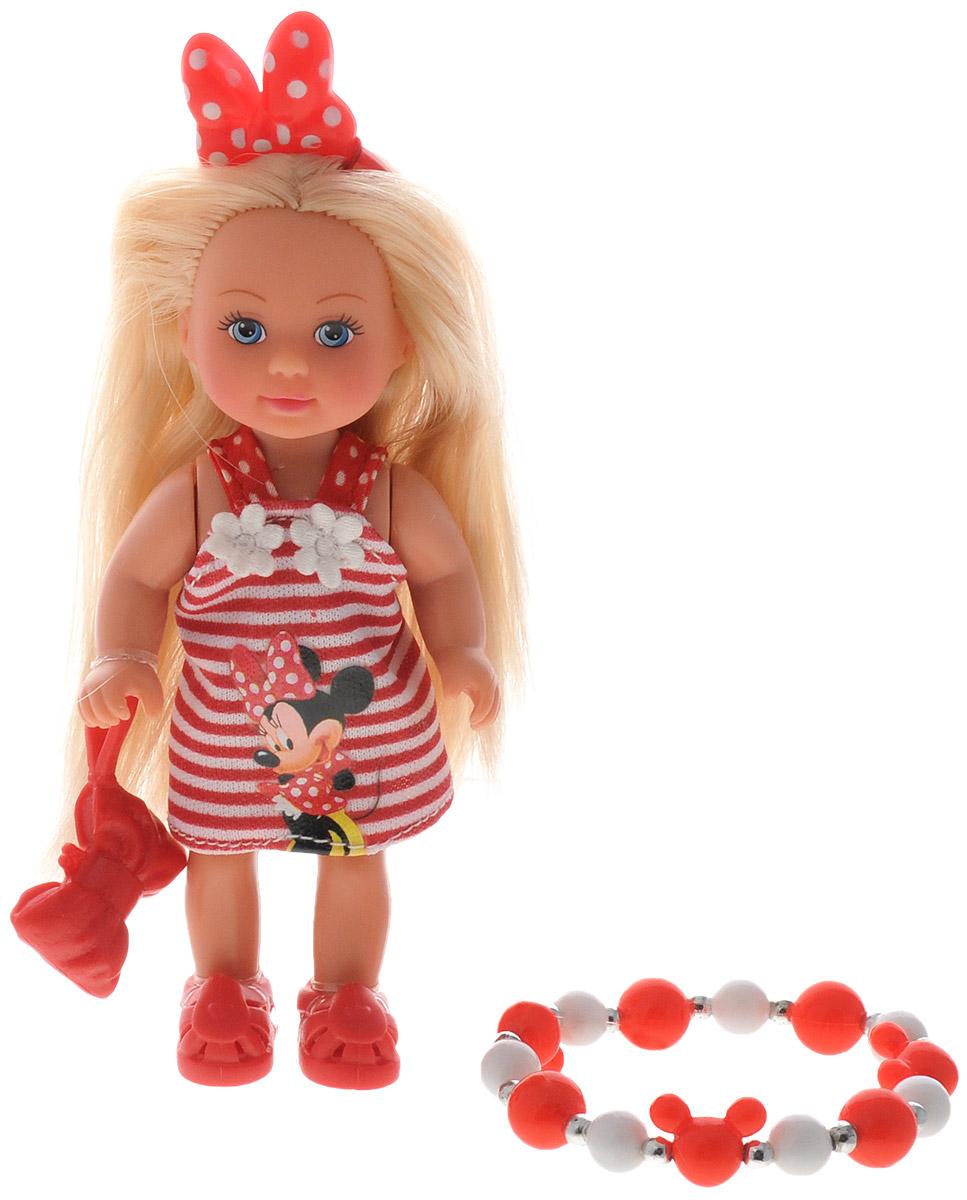 Simba Мини-кукла Еви Minnie Mouse блондинка цвет платья красный белый5747701_красный в полоскуКукла Simba Еви порадует любую девочку и надолго увлечет ее. Малышка Еви одета в красное платье с белой полоской и аппликацией Минни Мауса. У куколки есть красный бантик и маленькая сумочка. Вашей дочурке непременно понравится заплетать длинные белокурые волосы куклы, придумывая разнообразные прически. В комплекте с куклой предлагается детский браслетик на резинке из белых и красных бусин в стиле Минни Маус. Руки, ноги и голова куклы подвижны, благодаря чему ей можно придавать разнообразные позы. Игры с куклой способствуют эмоциональному развитию, помогают формировать воображение и художественный вкус, а также разовьют в вашей малышке чувство ответственности и заботы. Великолепное качество исполнения делают эту куколку чудесным подарком к любому празднику.