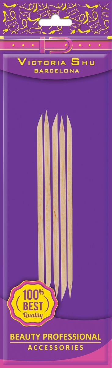 Victoria Shu Набор палочек для маникюра (5шт) D502, 11 г1063V13Деревянные палочки предназначены для обработки ногтей и кутикулы. Палочки заточены специальным способом для ухода за кутикулой и придания формы ногтям. С их помощью легко снимать излишки лака и придавать маникюру аккуратный вид. Палочки легко затачиваются крупно-абразивной пилкой.