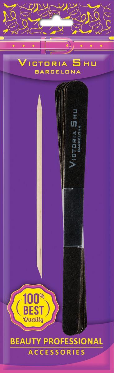 Victoria Shu Пилочка для ногтей 10шт и палочка для кутикулы F305, 30 г