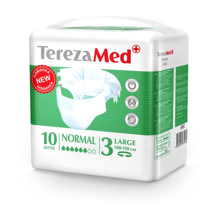 Tereza Med Подгузники для взрослых Normal Large (№3) уп.1016826Подгузники TerezaMed Normal Large предназначены для больных недержанием средней тяжести. Подгузник выполнен из мягкого дышашего материала, который пропускает пары влаги. Это позволяет коже пациента под подгузником дышать, а так же снижает риск появления опрелостей. Ядро подгузника состоит из натурального материала - целлюлозы, в которую добавлен суперабсорбент, впитывающий жидкость в больших количествах и обладающий свойством подавлять развитие неприятного запаха. Зеленый распределительный слой эффективно впитывает жидкость и распределяет ее внутри подгузника, тем самым снижая риск появления протечек. Крепление подгузника обеспечивается надежными липучками типа замочек, что позволяет многократно их приклеивать и отклеивать. Боковые бортики вокруг ног сделаны из гидрофобного материала и надежно запирают жидкость внутри. Размер талии пациента: большой, 100-150см. Количество в упаковке: 10 штук. Впитываемость: 2400 мл ±5%