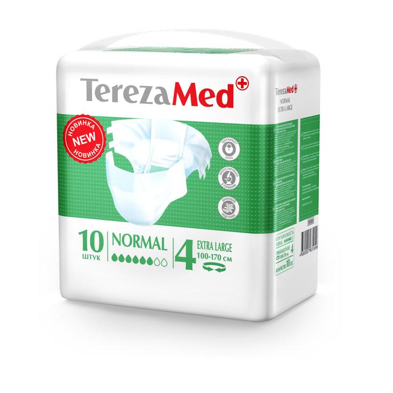 Tereza Med Подгузники для взрослых Normal Extra Large (№4) уп.1016827Подгузники TerezaMed Normal Extra Large предназначены для больных недержанием средней тяжести. Подгузник выполнен из мягкого дышашего материала, который пропускает пары влаги. Это позволяет коже пациента под подгузником дышать, а так же снижает риск появления опрелостей. Ядро подгузника состоит из натурального материала - целлюлозы, в которую добавлен суперабсорбент, впитывающий жидкость в больших количествах и обладающий свойством подавлять развитие неприятного запаха. Зеленый распределительный слой эффективно впитывает жидкость и распределяет ее внутри подгузника, тем самым снижая риск появления протечек. Крепление подгузника обеспечивается надежными липучками типа замочек, что позволяет многократно их приклеивать и отклеивать. Боковые бортики вокруг ног сделаны из гидрофобного материала и надежно запирают жидкость внутри. Размер талии пациента: очень большой, 100-170см. Количество в упаковке: 10 штук. Впитываемость: 2500 мл ±5%