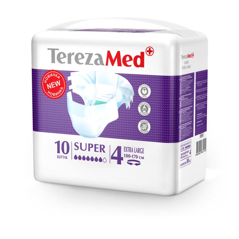 Tereza Med Подгузники для взрослых Super Extra Large (№4) уп.1016829Подгузники TerezaMed Super Extra Large предназначены для больных с серьезной формой недержания. Подгузник выполнен из мягкого дышашего материала, который пропускает пары влаги. Это позволяет коже пациента под подгузником дышать, а так же снижает риск появления опрелостей. Ядро подгузника состоит из натурального материала - целлюлозы, в которую добавлен суперабсорбент, впитывающий жидкость в больших количествах и обладающий свойством подавлять развитие неприятного запаха. Зеленый распределительный слой эффективно впитывает жидкость и распределяет ее внутри подгузника, тем самым снижая риск появления протечек. Крепление подгузника обеспечивается надежными липучками типа замочек, что позволяет многократно их приклеивать и отклеивать. Боковые бортики вокруг ног сделаны из гидрофобного материала и надежно запирают жидкость внутри. Размер талии пациента: очень большой, 100-170см. Количество в упаковке: 10 штук. Впитываемость: 3200 мл ±5%