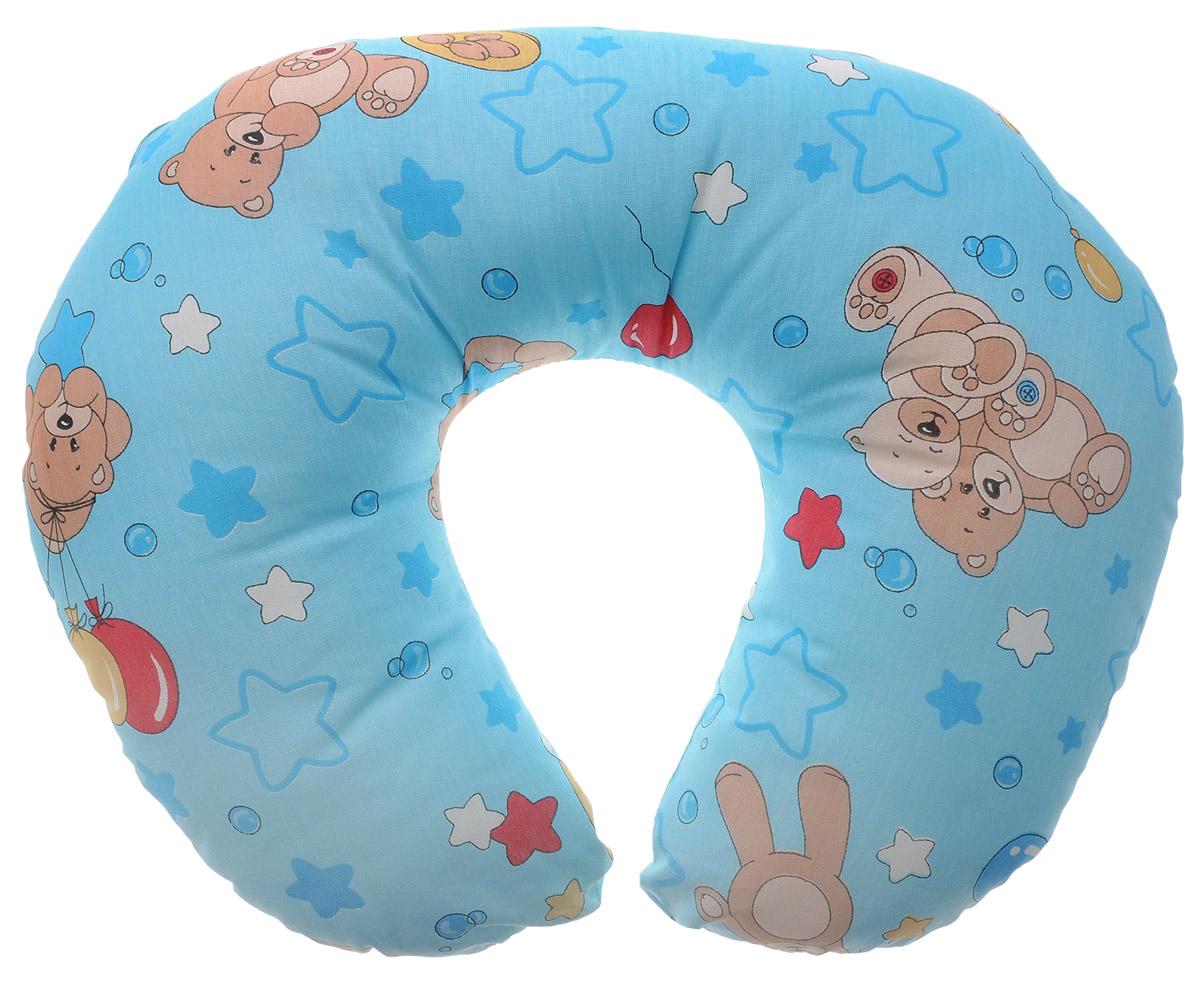 Спортбэби Подушка для кормления цвет голубой 50 см х 45 смсп.0001_голубой, мишки с шарамиБольшая и удобная подушка Спортбэби сделает процесс кормления максимально комфортным и для мамы и для малыша. Удобная форма подушки в виде подковы позволяет расположить ее вокруг талии, тем самым ослабить нагрузку на спину и руки. Подушка выполнена из экологически чистого и безопасного материала. Наволочка изготовлена из 100% хлопка, в качестве наполнителя использовано полиэфирное волокно Уникрол. На такую подушку удобно класть ребенка во время кормления из бутылочки и с ложечки, а также при переодевании и просто для отдыха - ему будет уютно, как в гнездышке, и он никуда не скатится. Когда ребенок подрастет, он с удовольствием будет сидеть и играть на этой подушке, как в кресле. Наволочка на пластиковой молнии, благодаря чему ее можно снимать и стирать. УВАЖАЕМЫЕ КЛИЕНТЫ! Обращаем ваше внимание на возможные изменения в цветовом дизайне рисунка. Поставка осуществляется в зависимости от наличия на складе.