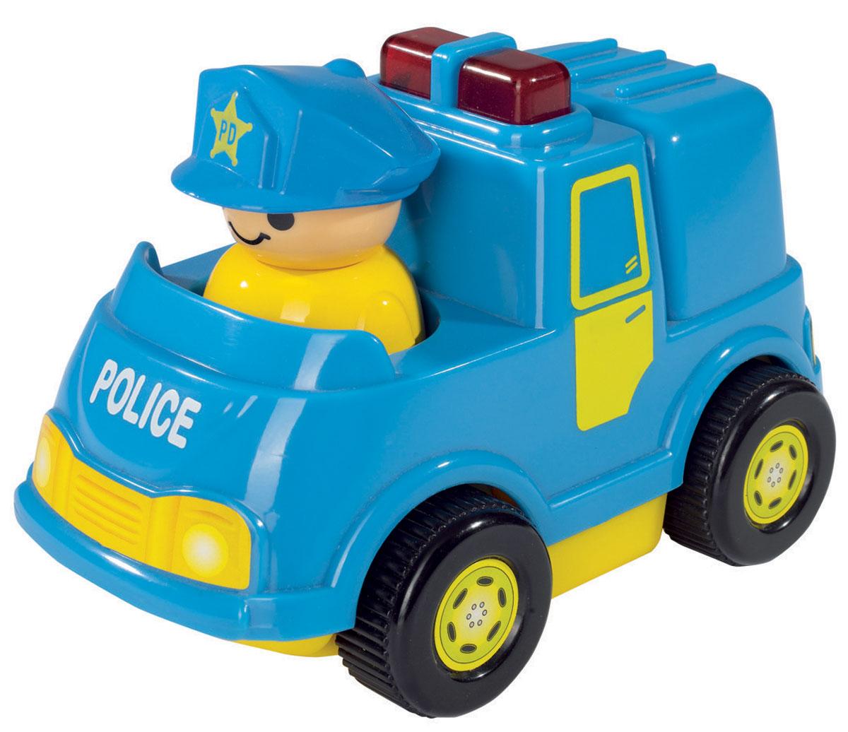 Simba Мини-машинка цвет голубой4019623_голубойОчаровательная мини-машинка Simba обязательно придется по душе вашему малышу. Игрушка представлена в виде яркой машинки с человечком в синей кепке. Машинка не имеет острых углов и мелких деталей и идеально подходит для детей от 12 месяцев. При нажатии на кнопку, находящуюся на кузове, машинка издает звуки сирены и мигает, а при движении фигурка человечка начинает покачиваться из стороны в сторону. Такая игрушка способствует развитию у малыша тактильных ощущений, мелкой моторики рук и координации движений. Рекомендуется докупить 2 батарейки напряжением 1,5V типа АА (товар комплектуется демонстрационными).