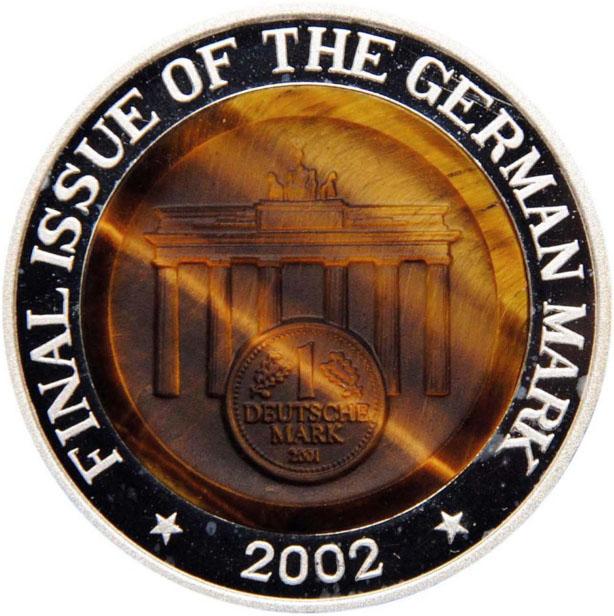 Монета номиналом 10 вон Последний выпуск немецкой марки. КНДР, 2002 год324006Диаметр: 40 мм Вес: 31,1 гр. Качество: Proof Сохранность: UNC (без обращения)