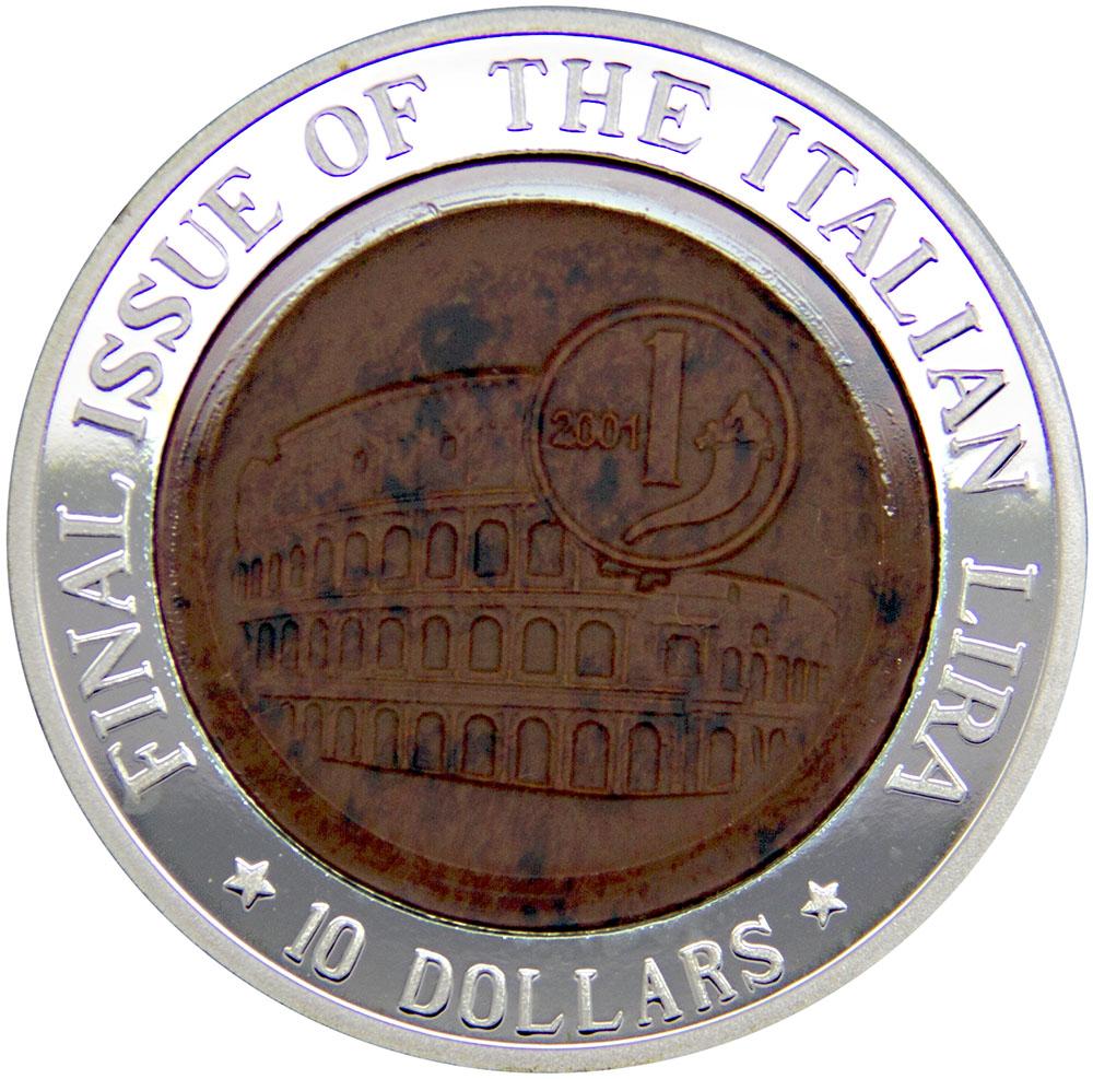 Монета номиналом 10 долларов Последний выпуск итальянской лиры. Науру, 2002 год324006Диаметр: 40 мм Вес: 31,1 гр. Качество: Proof Сохранность: UNC (без обращения)