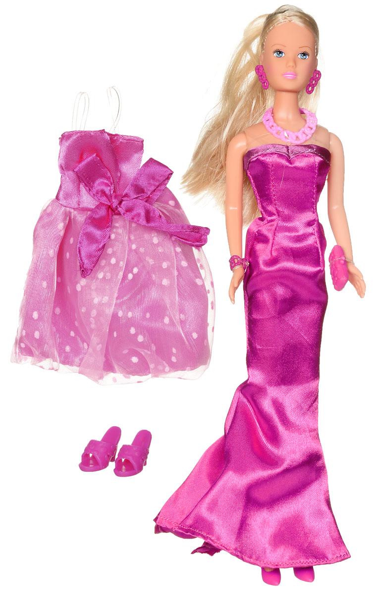 Simba Кукла Штеффи любит розовый5738662Кукла Simba Штеффи. Любит розовое надолго займет внимание вашей малышки и подарит ей множество счастливых мгновений. Кукла изготовлена из пластика, ее голова, ручки и ножки подвижны, что позволяет придавать ей разнообразные позы. В комплект входят дополнительное платье для куклы и пара босоножек. Куколка одета в элегантное вечернее платье ярко-розового цвета. Наряд дополняют длинные серьги, оригинальное колье и небольшая сумочка-клатч. Чудесные длинные волосы куклы так весело расчесывать и создавать из них всевозможные прически, плести косички, жгутики и хвостики. Благодаря играм с куклой, ваша малышка сможет развить фантазию и любознательность, овладеть навыками общения и научиться ответственности, а дополнительные аксессуары сделают игру еще увлекательнее. Порадуйте свою принцессу таким прекрасным подарком!