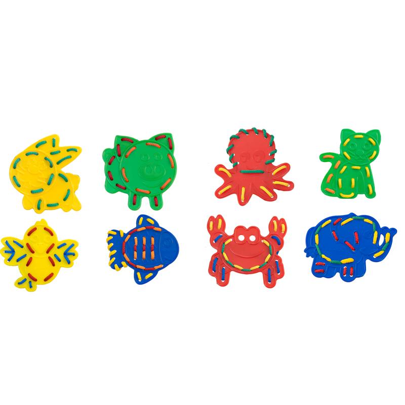 Miniland Шнуровка Животные31794В наборе 8 толстых пластиковых силуэтов животных, используемых для шитья. Они также могут быть использованы в качестве трафаретов для рисования и раскрашивания. 10 плетеных шнурков в комплекте Развивает:мелкую моторику рук, тактильную память, творческое воображение