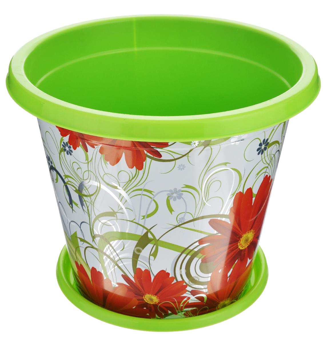 Горшок-кашпо Альтернатива «Сюзанна», с поддоном, цвет: салатовый, красный, 3 л