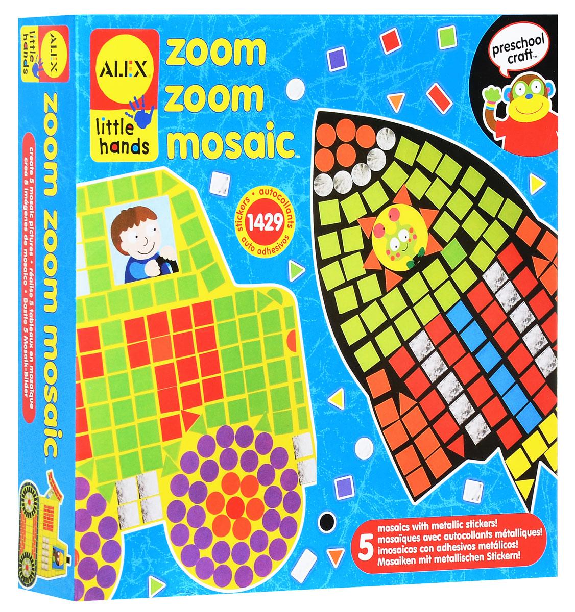Alex Toys Мозаика Ускорение1405С набором для создания мозаики Ускорение ваш ребенок сможет самостоятельно собрать пять ярких изображений из разноцветных стикеров. На основу уже нанесен контур изображения, ребенку необходимо заполнить белые участки в форме квадратов, кругов и треугольников разноцветными стикерами соответствующей формы. Малыш сможет создать мозаичные картинки с изображением ракеты, вертолета, пожарной машины, экскаватора и автомобиля. Набор для творчества поможет малышу в развитии фантазии, изобретательности, аккуратности, а также развивает мелкую моторику рук и терпение. Порадуйте своего ребенка таким замечательным подарком!