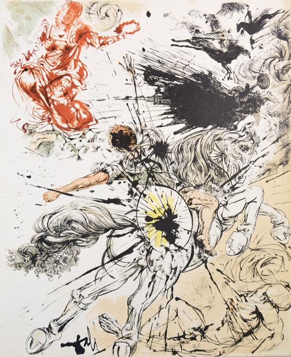 Дульсинея (Видение Дульсинеи). Сальвадор Дали. Литография из серии Дон Кихот Ламанчский (Don Quijote de la Mancha). Франция, 1957 годНВА-2 2508 16-39Литография Дульсинея (Видение Дульсинеи). Лист № 2 из серии Дон Кихот Ламанчский (Don Quijote de la Mancha), 1956-1957 гг. Автор - Сальвадор Дали (1904-1989), испанский художник, один из самых известных представителей сюрреализма. Издано в ателье Мурло (Atelier Mourlot) под редакцией Жозефа Форе (Joseph Foret). Размер листа 32,5 х 41,5 см. Бумага BFK Rives. Сохранность коллекционная. В нижней части листа - подпись художника на доске, подпись художника от руки и аббревиатура EA - авторский тираж. Работа отмечена в каталоге Dali: The Catalogue Raisonne of Etchings and Mixed-Media Prints, (1924-1980) (Salvador Dali, Lutz W. Loepsinger, Ralf Michler; Издательство Prestel, 1993) под № 1002. Общее количество листов сюиты - 12 + 1 дополнительный. Номера в каталоге 1001-1013.