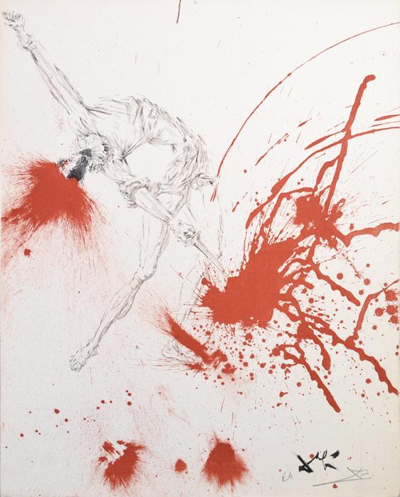 Винные бочки (Борьба с винными мехами). Сальвадор Дали. Литография из серии Дон Кихот Ламанчский (Don Quijote de la Mancha). Франция, 1957 годНВА-2 2508 16-39Литография Винные бочки (Борьба с винными мехами). Лист № 6 из серии Дон Кихот Ламанчский (Don Quijote de la Mancha), 1956-1957 гг. Автор - Сальвадор Дали (1904-1989), испанский художник, один из самых известных представителей сюрреализма. Издано в ателье Мурло (Atelier Mourlot) под редакцией Жозефа Форе (Joseph Foret). Размер листа 32,5 х 41,5 см. Бумага BFK Rives. Сохранность коллекционная. В правом нижнем углу - подпись художника на доске, подпись художника от руки и аббревиатура EA - авторский тираж. Работа отмечена в каталоге Dali: The Catalogue Raisonne of Etchings and Mixed-Media Prints, (1924-1980) (Salvador Dali, Lutz W. Loepsinger, Ralf Michler; Издательство Prestel, 1993) под № 1006. Общее количество листов сюиты - 12 + 1 дополнительный. Номера в каталоге 1001-1013.