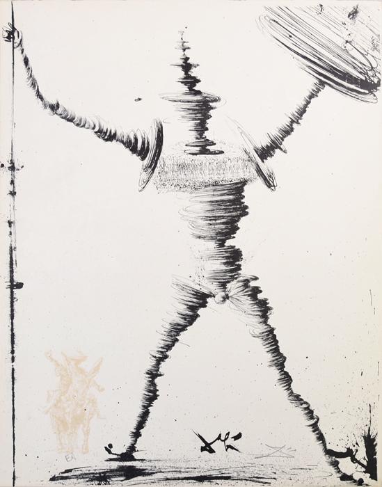 Дон Кихот и Санчо Панса (Don Quichotte et Sancho Panсa). Сальвадор Дали. Литография из серии Дон Кихот Ламанчский (Don Quijote de la Mancha). Франция, 1957 годНВА-2 2508 16-39Литография Дон Кихот и Санчо Панса (фр. Don Quichotte et Sancho Panсa). Лист № 1 из серии Дон Кихот Ламанчский (Don Quijote de la Mancha), 1956-1957 гг. Автор - Сальвадор Дали (1904-1989), испанский художник, один из самых известных представителей сюрреализма. Издано в ателье Мурло (Atelier Mourlot) под редакцией Жозефа Форе (Joseph Foret). Размер листа 32,5 х 41,5 см. Бумага BFK Rives. Сохранность коллекционная. В нижнем поле листа - подпись художника на доске, подпись художника от руки и аббревиатура EA - авторский тираж. Работа отмечена в каталоге Dali: The Catalogue Raisonne of Etchings and Mixed-Media Prints, (1924-1980) (Salvador Dali, Lutz W. Loepsinger, Ralf Michler; Издательство Prestel, 1993) под № 1001. Общее количество листов сюиты - 12 + 1 дополнительный. Номера в каталоге 1001-1013.