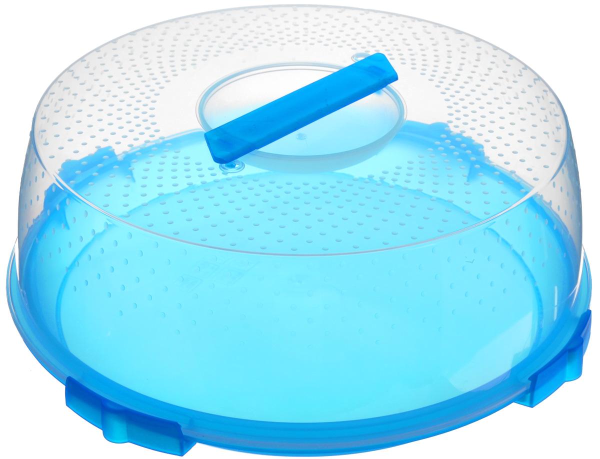 Тортница Cosmoplast Оазис, цвет: синий, прозрачный, диаметр 32 см2123_синийТортница Cosmoplast Оазис изготовлена из высококачественного прочного пищевого пластика. Тортница имеет удобную ручку для переноски и прочные фиксаторы крышки. Может использоваться в микроволновой печи и морозильной камере (выдерживает температуру от -30°С до +110°С). Очень гигиенична и легко моется. Можно мыть в посудомоечной машине. Диаметр тортницы: 32 см. Внутренний диаметр тортницы: 28 см. Высота тортницы: 13 см.