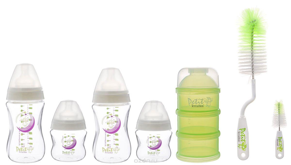 Petit Terraillon Набор для новорожденного цвет зеленый белый10895Набор для новорожденного Petit Terraillon изготовлен из высококачественных материалов, безопасных для младенца. Форма бутылочек разработана специально таким образом, чтобы ребенку было удобно держать их в руках. Для удобства на поверхности бутылочек нанесена мерная шкала. Система фиксации сосок позволяет легко вынимать и менять их. Бутылочки и соски Petit Terraillon созданы таким образом, что полностью имитируют естественное кормление грудью, благодаря чему вы сможете совмещать как грудное кормление, так и кормление из бутылочки. В наборе: 2 бутылочки по 150 мл, 2 бутылочки по 270 мл, набор контейнеров, 2 ершика.