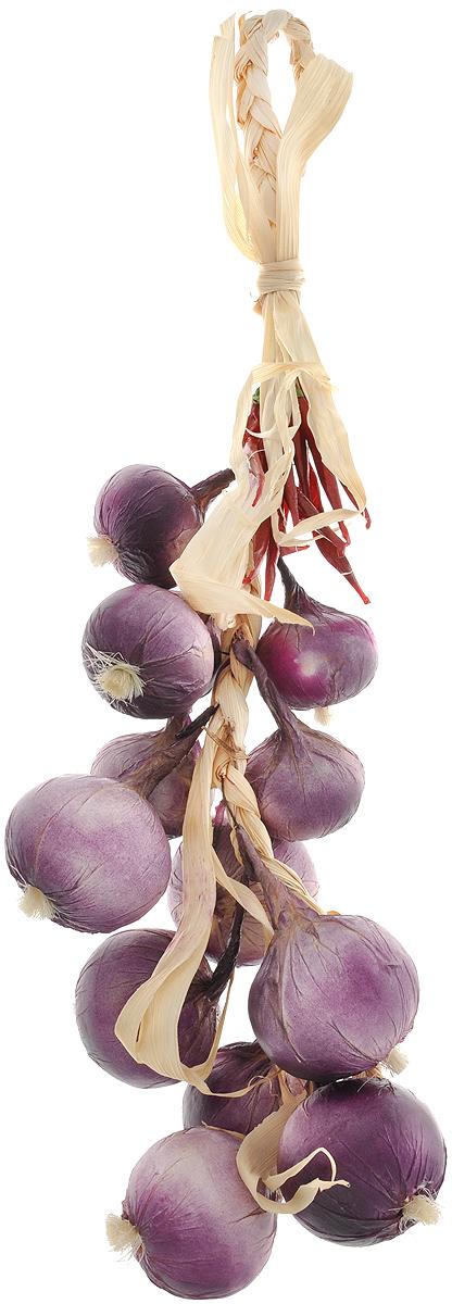 Муляж Лук с перцем в связке, цвет: фиолетовый, бордовый, 60 смRO60Муляж Лук с перцем в связке изготовлен из полиуретана, окрашен в естественные цвета. Предназначен для украшения интерьера дома. Длина связки: 60 см.